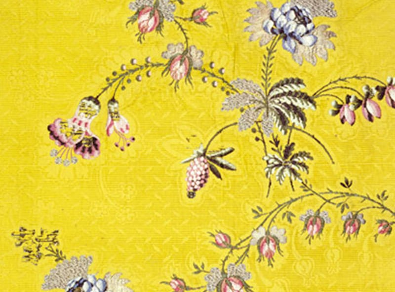 A close up of a textile designed by a Huguenot descendent