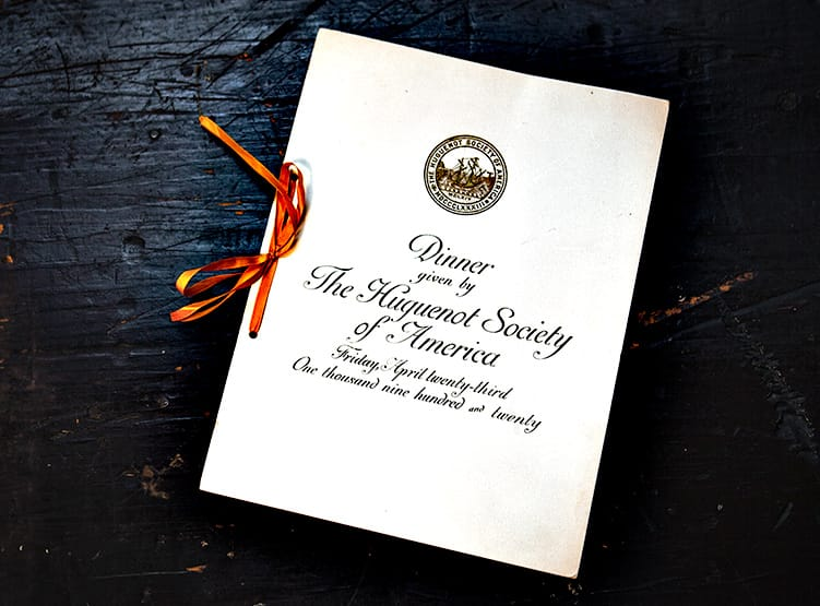An invitation to the 1920 Huguenot Society dinner