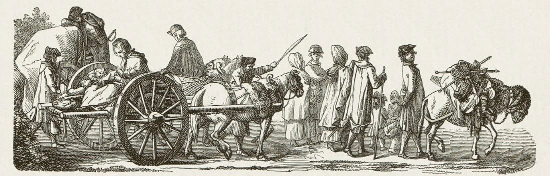 Woodcut showing the Immigration of French Huguenots in Berlin in the 18th Century
